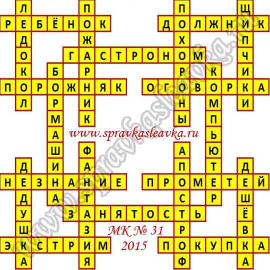 Ответы на Московский кроссворд № 31, 2015 год