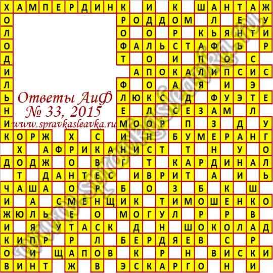 Ответы на кроссворд из газеты Аргументы и Факты № 32, 2015