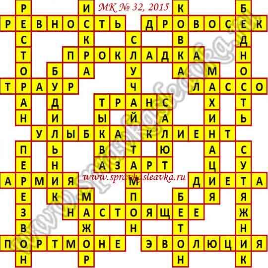 Ответы на Московский кроссворд № 32