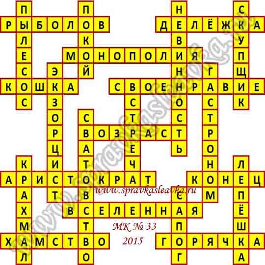 Ответы на Московский кроссворд № 33, 2015 год
