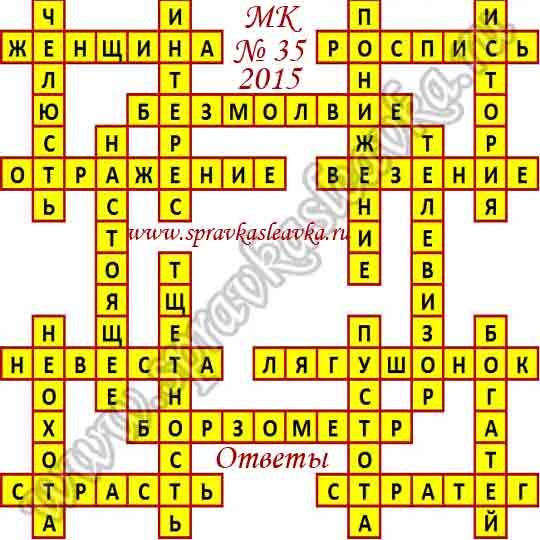 Ответы на Московский кроссворд № 35, 2015 год