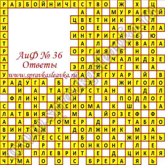 Ответы на кроссворд из газеты Аргументы и Факты № 36, 2015