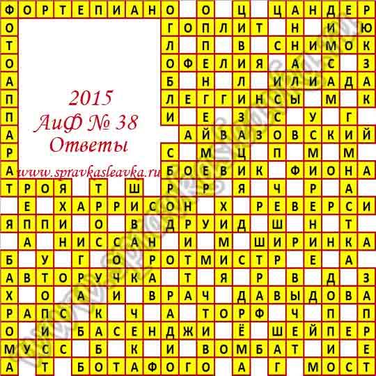 Ответы на кроссворд из газеты Аргументы и Факты № 38, 2015