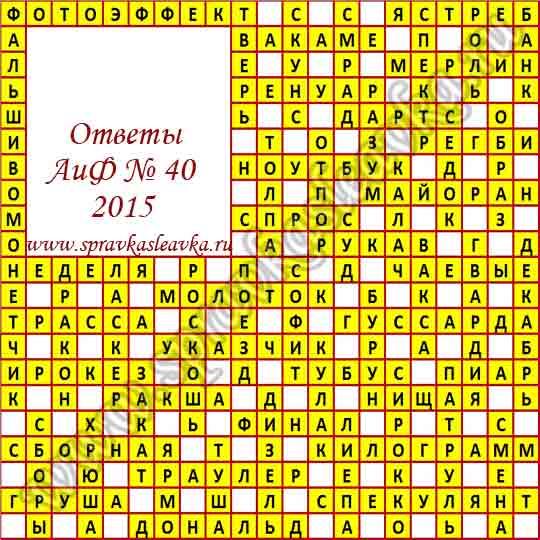 Ответы на кроссворд из газеты Аргументы и Факты № 40, 2015