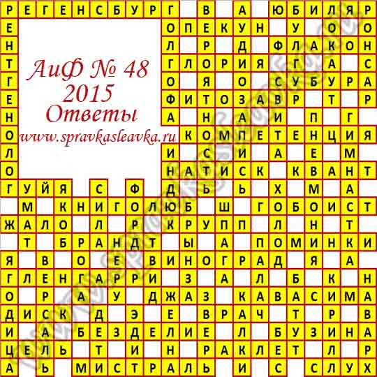 Ответы на кроссворд из газеты Аргументы и Факты № 48, 2015