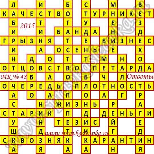 Ответы на Московский кроссворд № 48, 2015 год