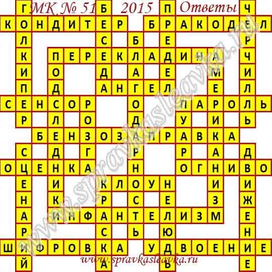 Ответы на Московский кроссворд № 51, 2015 год