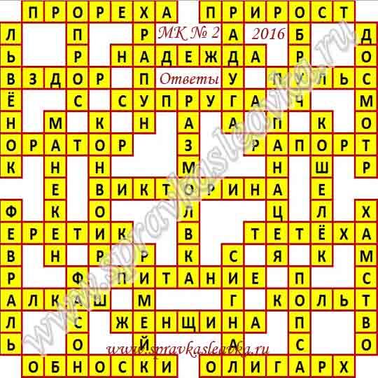 Ответы на Московский кроссворд № 2, 2016 год