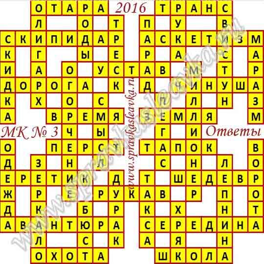 Ответы на Московский кроссворд № 3, 2016 год