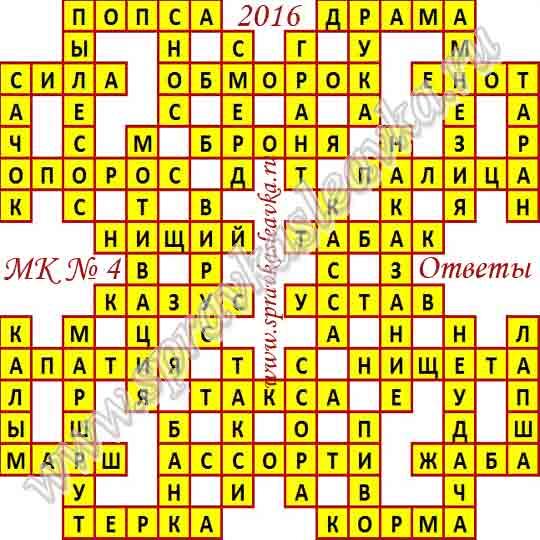 Ответы на Московский кроссворд № 4, 2016 год