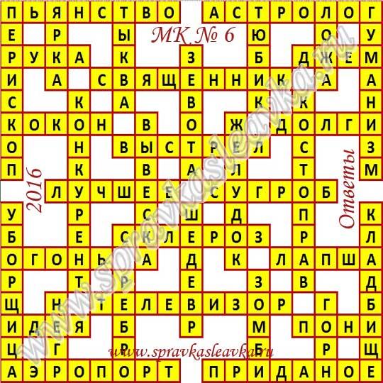 Ответы на Московский кроссворд № 6, 2016 год