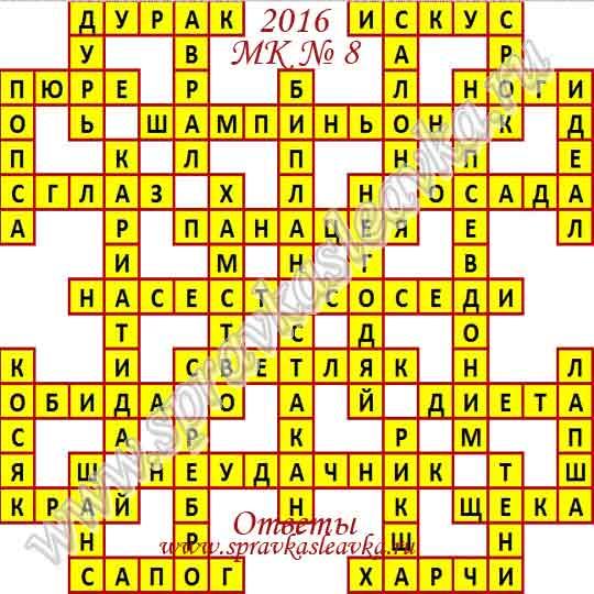 Ответы на Московский кроссворд № 8, 2016 год