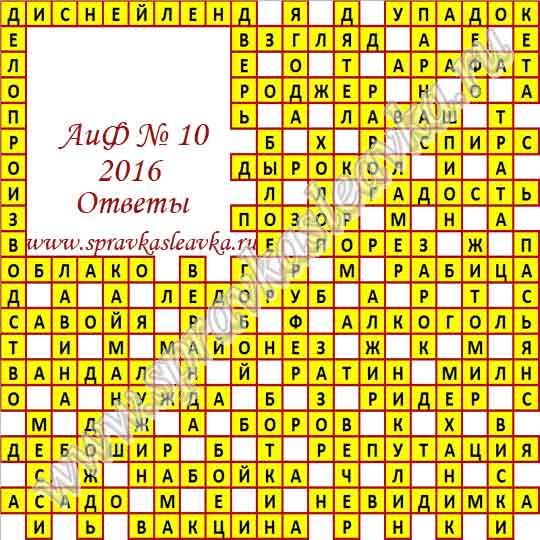 Ответы на кроссворд из газеты Аргументы и Факты № 10, 2016