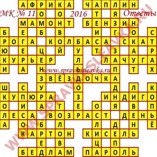 Ответы на Московский кроссворд № 11, 2016 год