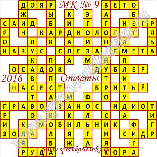 Ответы на Московский кроссворд № 9, 2016 год