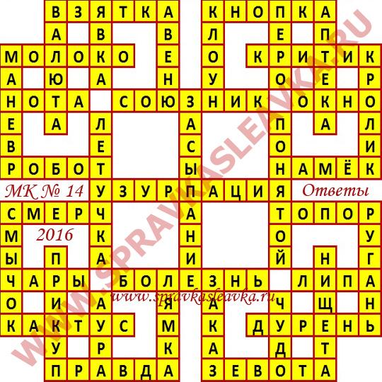 Ответы на Московский кроссворд № 14, 2016 год