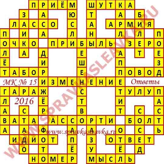 Ответы на Московский кроссворд № 15, 2016 год