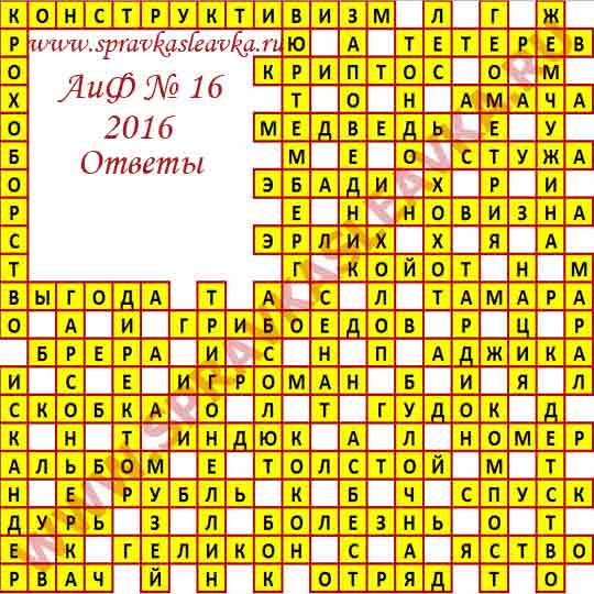 Ответы на кроссворд из газеты Аргументы и Факты № 16, 2016
