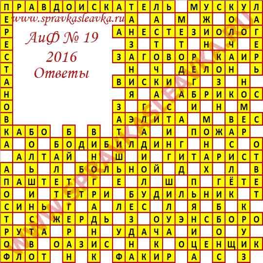 Ответы на кроссворд из газеты Аргументы и Факты № 19, 2016