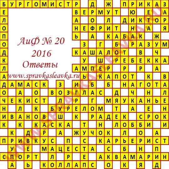 Ответы на кроссворд из газеты Аргументы и Факты номер 20, 2016