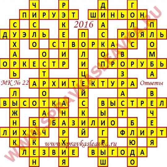 Ответы на Московский кроссворд номер 22, 2016 год