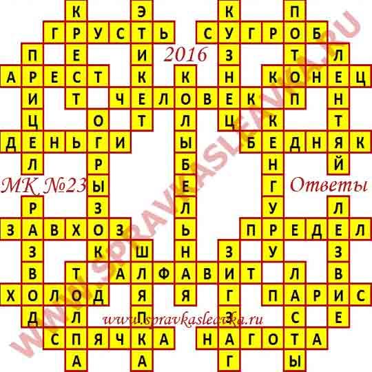 Ответы на Московский кроссворд номер 23, 2016 год