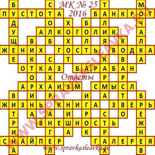 Ответы на Московский кроссворд № 25 2016