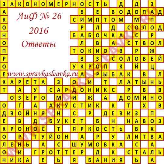 Ответы на кроссворд из газеты Аргументы и Факты номер 26, 2016