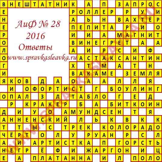 Ответы на кроссворд из газеты Аргументы и Факты номер 28, 2016