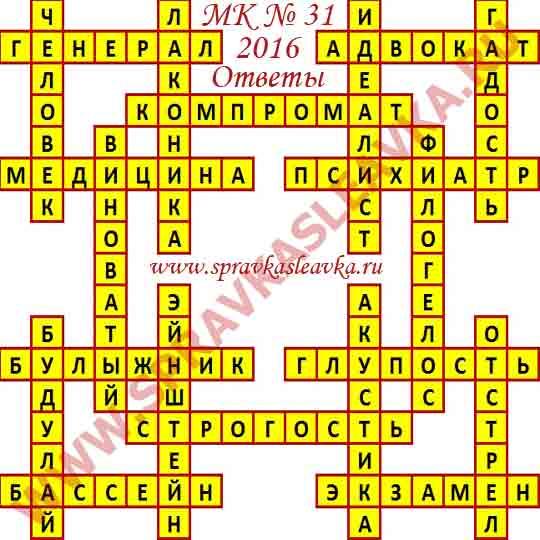 Ответы на Московский кроссворд из АиФ номер 31, 2016