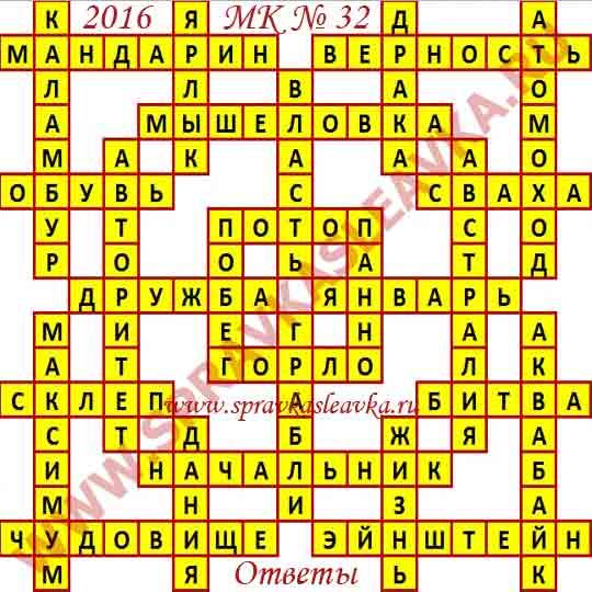Ответы на Московский кроссворд из АиФ номер 32, 2016