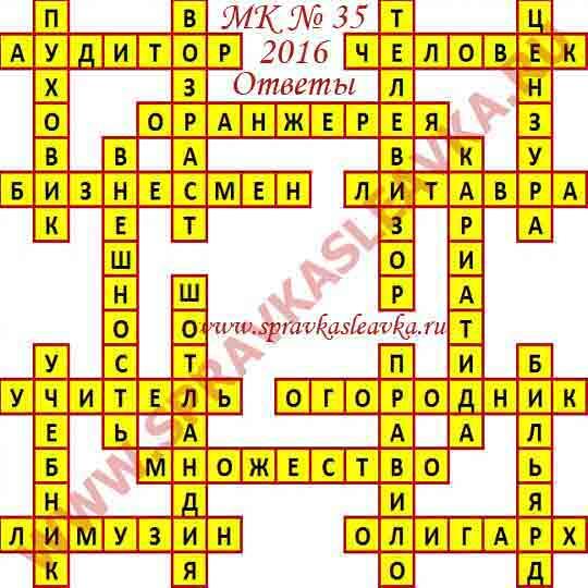 Ответы на Московский кроссворд из АиФ номер 35, 2016