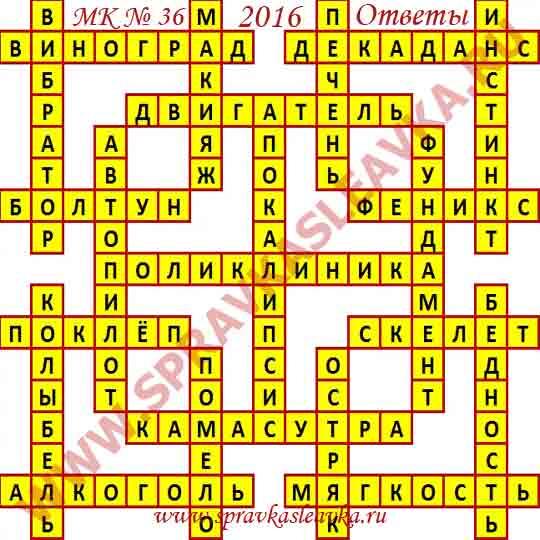 Ответы на Московский кроссворд из АиФ номер 36, 2016