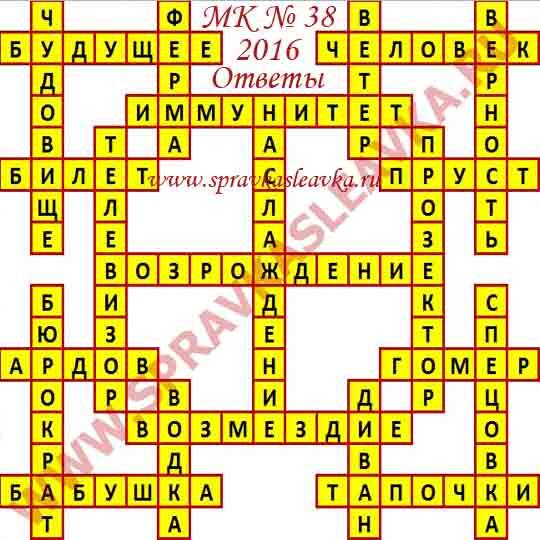 Ответы на Московский кроссворд из АиФ номер 38, 2016