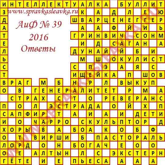 Ответы на кроссворд из газеты Аргументы и Факты номер 39 2016 год