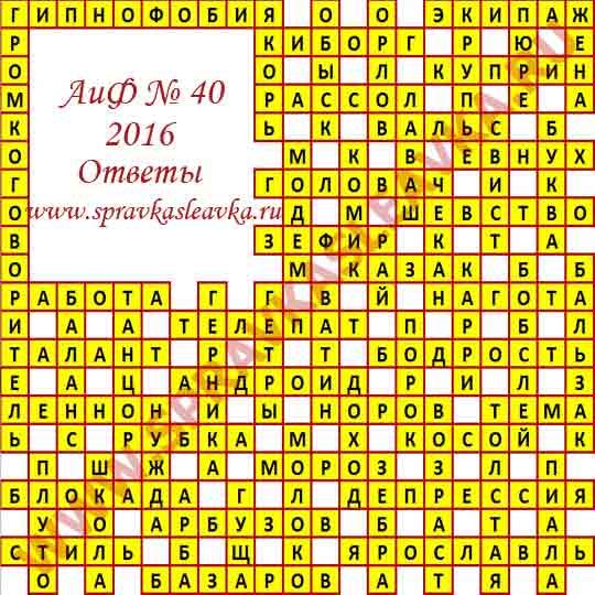 Ответы на кроссворд из газеты Аргументы и Факты номер 40 2016 год