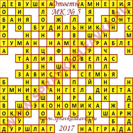 Ответы на Московский кроссворд из АиФ номер 5, 2017