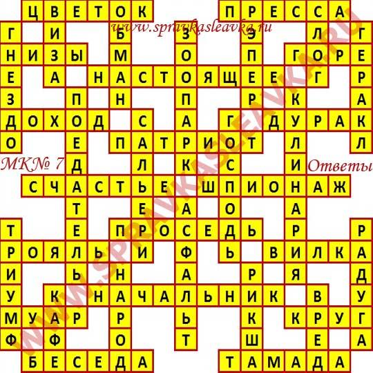 Ответы на Московский кроссворд из АиФ номер 7, 2017