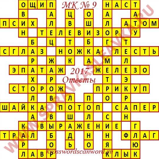 Ответы на Московский кроссворд из АиФ номер 9 2017