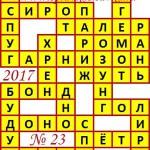 Ответы на сканворд из АиФ 23 2017