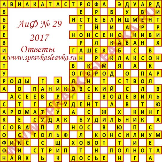 Ответы на кроссворд АиФ номер 29 2017