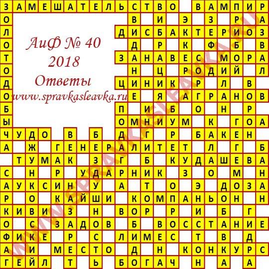Ответы на кроссворд АиФ номер 40 2018