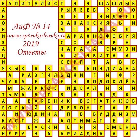Ответы на кроссворд АиФ номер 14 2019
