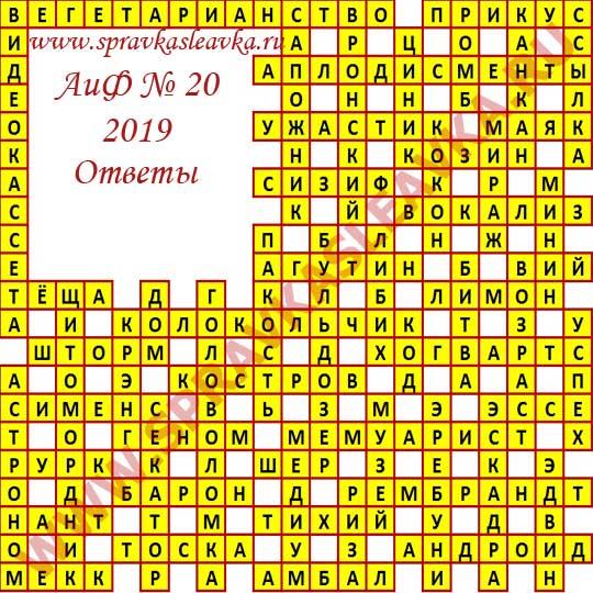 Ответы на кроссворд из газеты Аргументы и Факты номер 20 2019 год