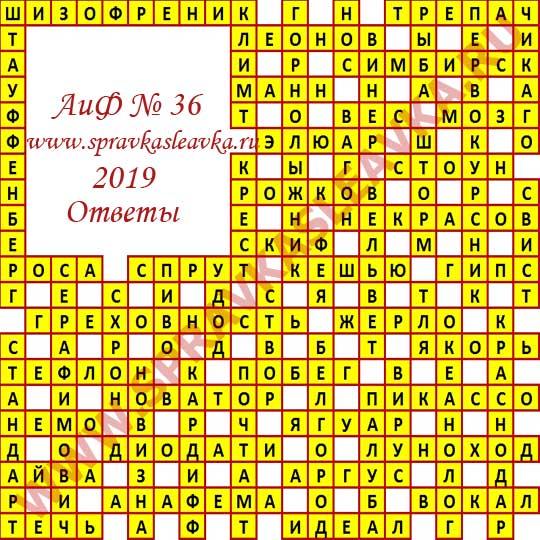 Ответы на кроссворд АиФ номер 36 2019