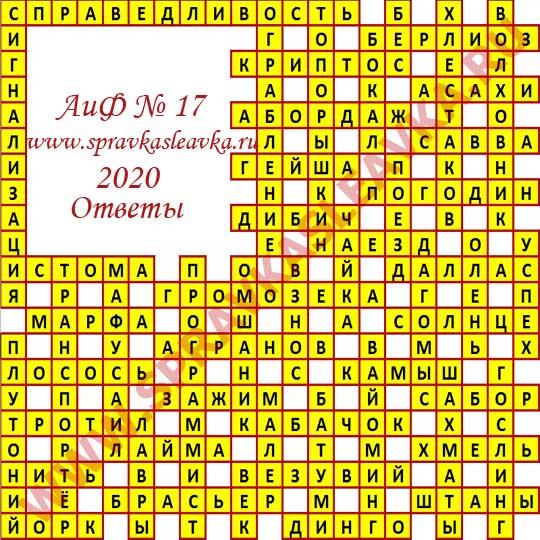 Ответы на кроссворд АиФ номер 18 2020