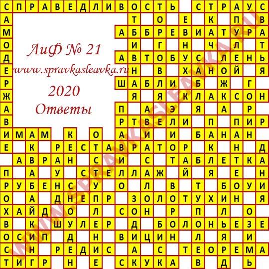 Ответы на кроссворд АиФ номер 21 2020