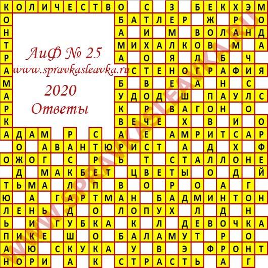 Ответы на кроссворд АиФ номер 25 2020
