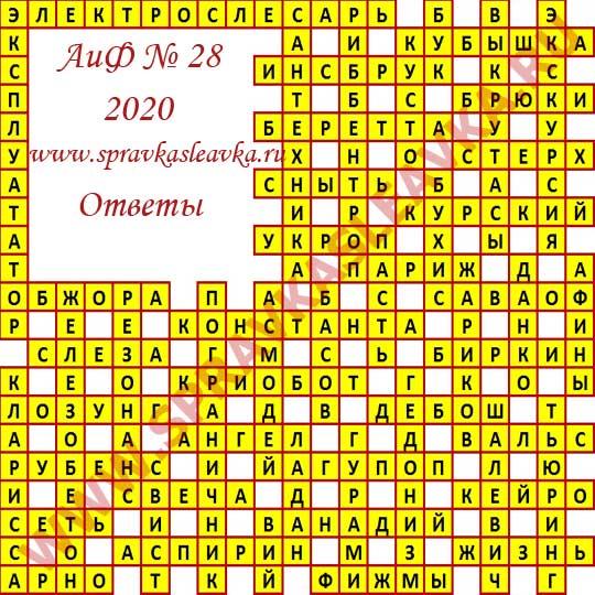Ответы на кроссворд АиФ номер 28 2020