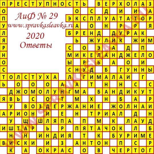 Ответы на кроссворд АиФ номер 29 2020